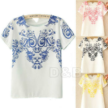 2014 New Vintage Trendy Symmetrical Blue and White Porcelain Print T Shirt Floral Pattern Back Chiffon T-Shirt Tops 80289