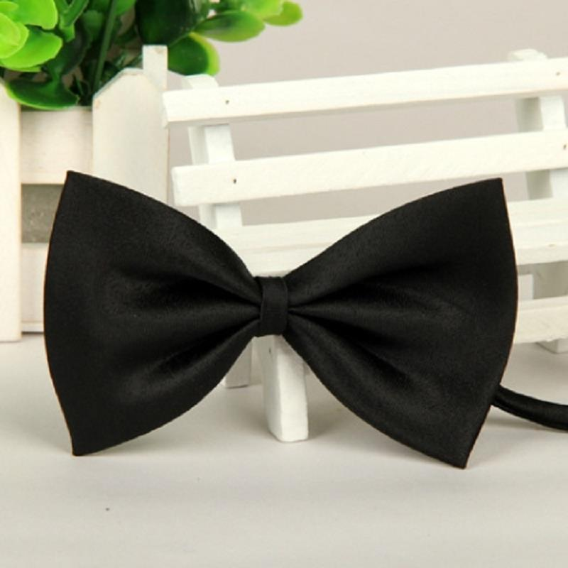 Classic Style BOW TIE Solid BLACK pre-tied banded style with a clip BowTie. This is not an old fashion