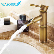Free shipping bathroom basin faucet vintage style Brass single handle hot and cold luxury gold color tap bamboo special design