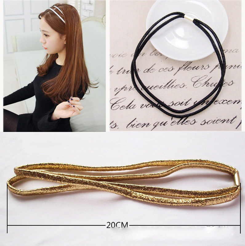 1 PCS Black/Golden Elastic Headband Head Piece Hair Band Hairband Jewelry for Women Girl Lady(China (Mainland))