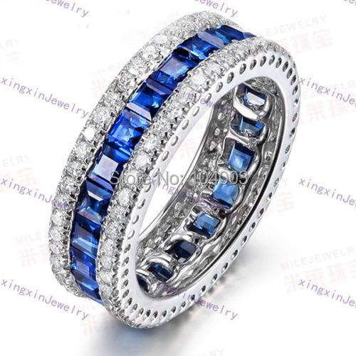 Women Fashion Jewelry 10KT White Gold Filled Finger Rings Ladies Blue Sapphire Size 6/7/8/9/10 Big Promotion D1583-587(China (Mainland))