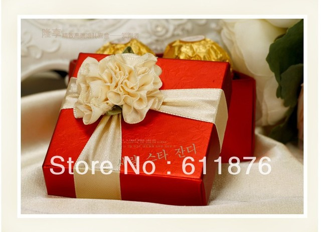 candy box , red gift box with champagne artificial flower decoration, H03 , gift package, wedding favors, free shipping