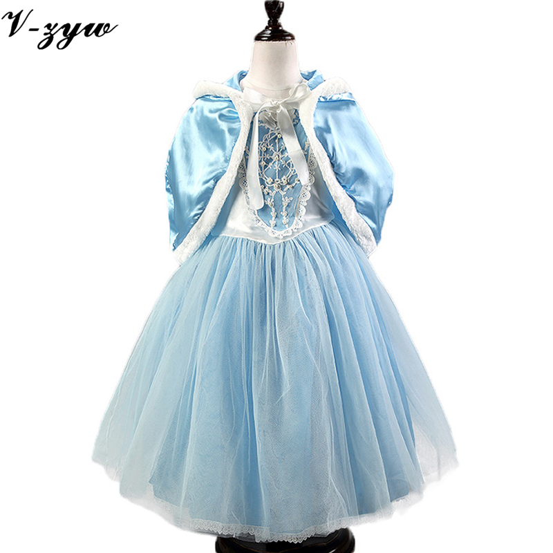 Gown infant cute baby girl dress elza costume flower girls dresses party wedding blue kids 2 pieces dresses+shawl - V-zyw I love Mom and Dad Store store