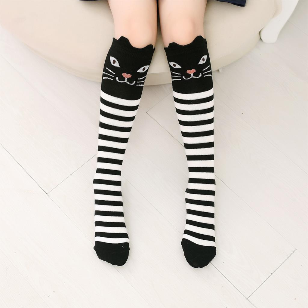 New Cotton Knee High Socks Children In Tube Socks Cat Striped Toddler Girl Animal Kid Sock