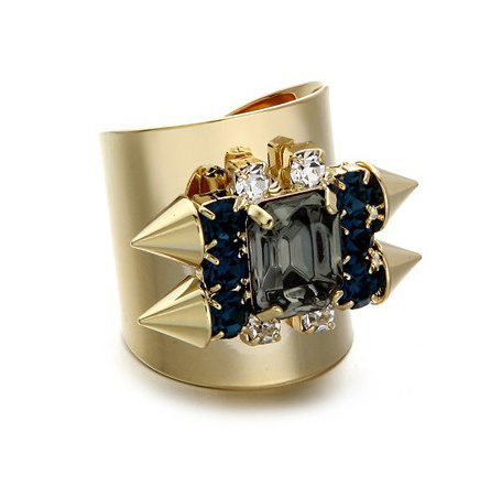 17mm Open Adjustable Size Punk Rock 18K Gold Plated Rivet Rings Exaggerated Big Rings For Women SR059(China (Mainland))