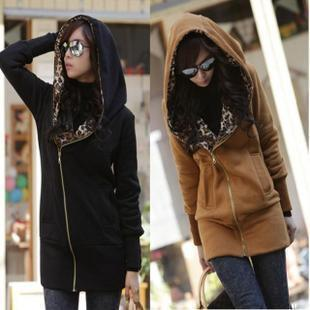 2012 casual leopard print long-sleeve with a hood thick sweatshirt outerwear plus size cardigan