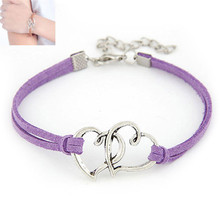 Fabulous 2016* 7 colors bracelets for women Love Heart Handmade Alloy Rope Charm Jewelry pulseras mujer elastic weave bracelets(China (Mainland))