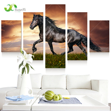 5 Panel Modern Printed Large Horse Painting Picture Cuadros Landscape Canvas Wall Art Home Decor For Living Room No Frame PR1007(China (Mainland))