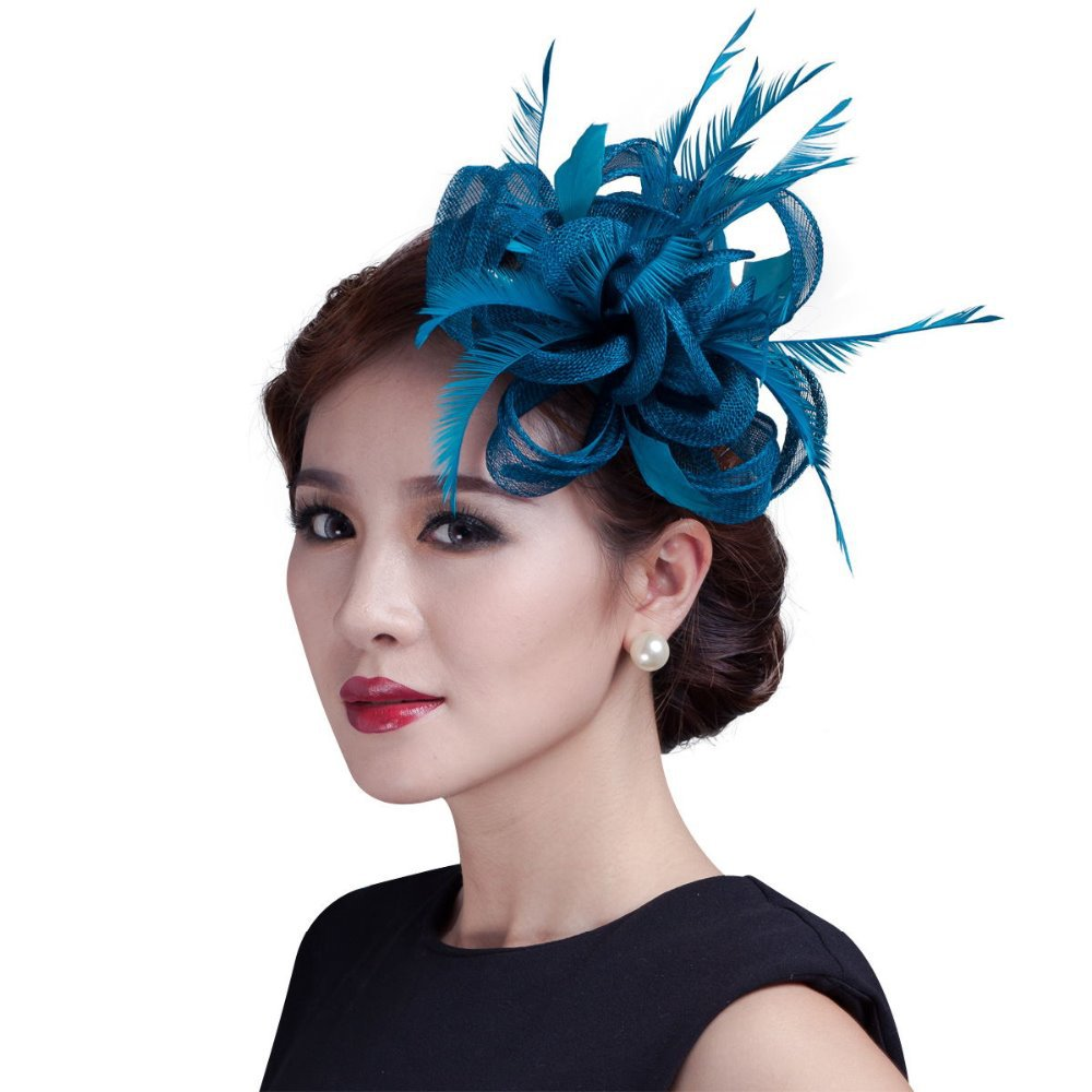 women teal loop Sinamay Hair Fascinators with Feathers-hair clip/fascinator headband for races/church/wedding/party(China (Mainland))
