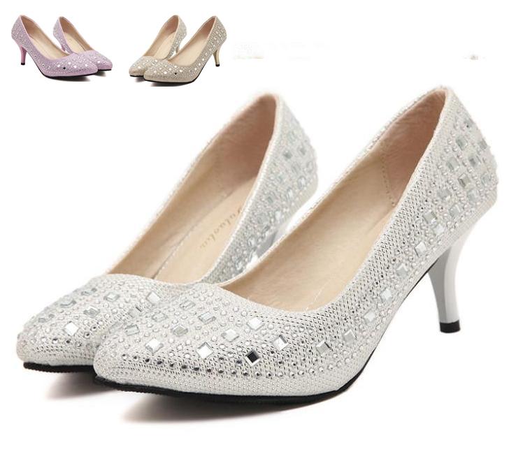 Glitter Rhinestone Kitten Heel Wedding Shoes Women Pointed Toe Bride Shoes Gold Pink White Size