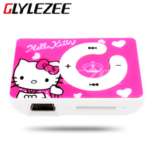 Hot Sell Mini Hello Kitty MP3 Music Player Clip MP3 Players Support TF Card With Hello KItty Earphone&Mini USB