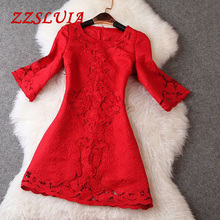 Buy S-4XL High quality 2017 new nice elegant flare sleeve embroidery hollow out jacquard designer one piece dress plus size T2175 for $38.67 in AliExpress store