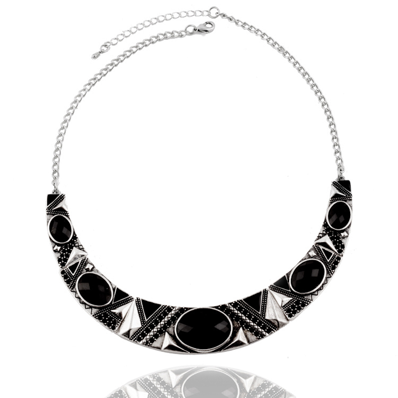Statement Necklace 2017New Vintage Jewelry Silver Color Alloy Black Resin Bead Choker Fashion Bijoux Women - shineland Official Store store