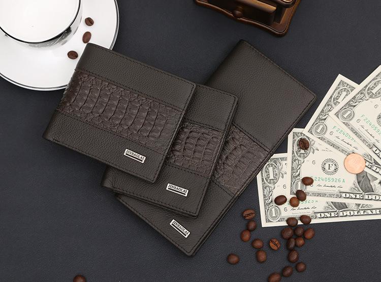 2015 New Women Wallets Luxury brand Men Wallet 100% Genuine Leather Wallet Crocodile stitching Alligator Pattern short Purse(China (Mainland))