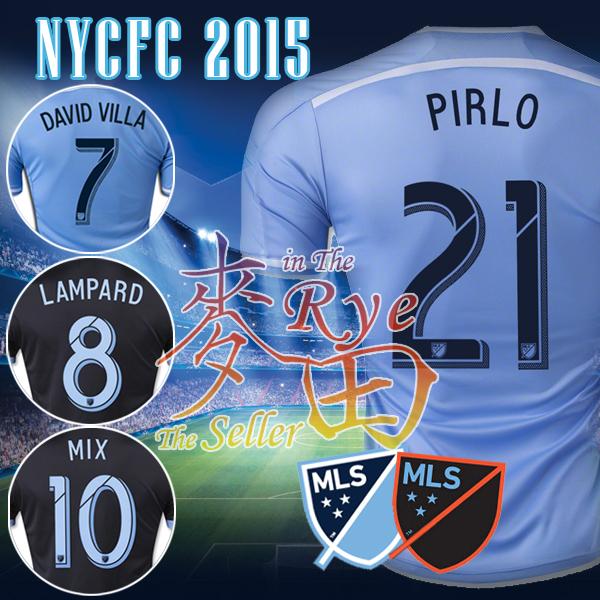 PIRLO NYCFC Jersey 2015 New York City FC PIRLO Soccer Jersey DAVID VILLA LAMPARD MIX Home Blue Away Black 1516 Football Shirt(China (Mainland))