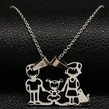 قلادة من الفولاذ المقاوم للصدأ ماما الأسرة القلائد مجوهرات الفضة اللون الحب صبي فتاة قلادة المختنق قلادة المرأة هدية N2201(China)