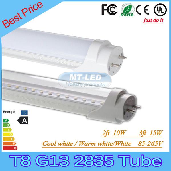 X25pcs SMD 2835 T8 G13 LED tube light fluorescent lamp 10W 2ft 15W 3ft 85-265V led tubes warranty 3 years(China (Mainland))