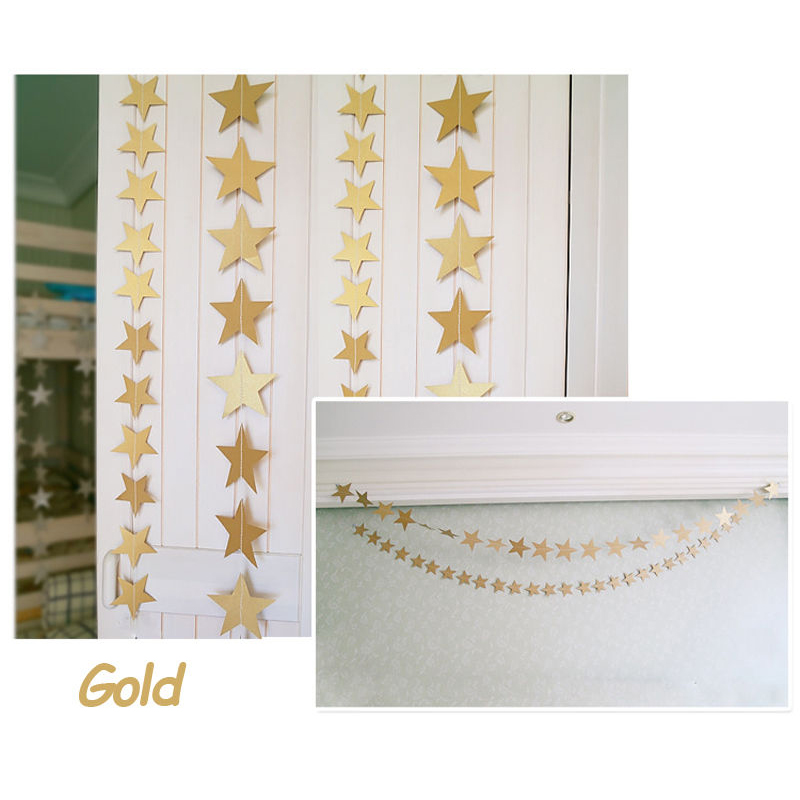 Practical 2016 High Quality Star Hanging Paper Garland Wedding Party Ceiling Decor Stars Art Banner Gold(China (Mainland))