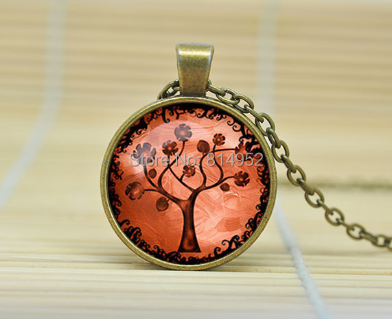 10pcs Tree of life pendant Tree of life necklace Tree of life jewelry nature Woodland jewelry Glass Cabochon Necklace A0894(China (Mainland))