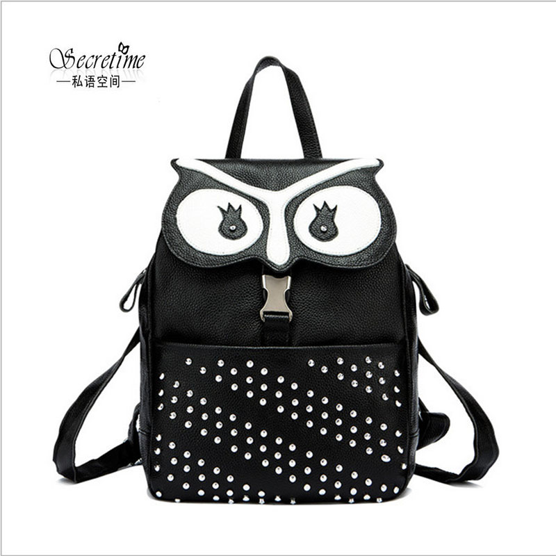 Фотография Secretime newest fashion genuine leather black owl rivet women backpack designer high quality ladies backpacks cute