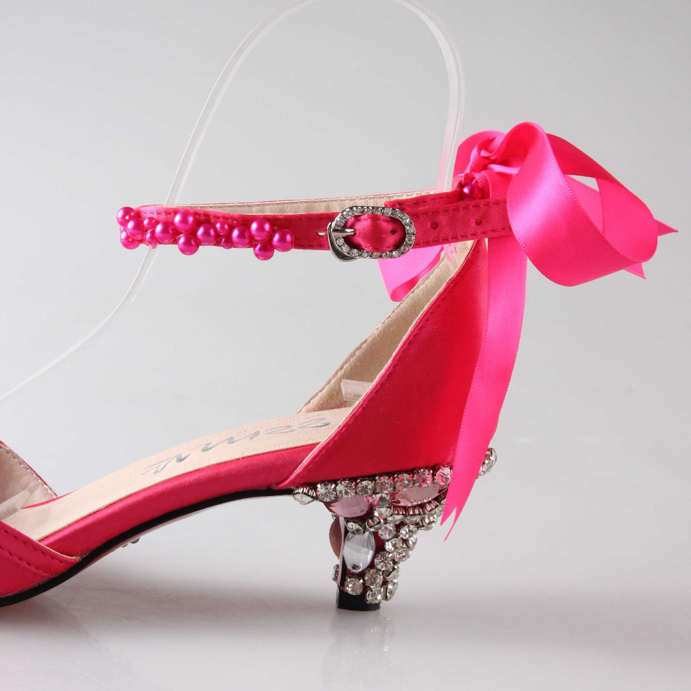 Low Heel Pink Wedding Shoes