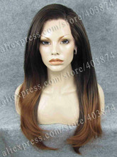 N2-PT2/30# Ombre Brown and Honey Blonde Color Long Silky Straight Texture Synthetic Lace Front Wig