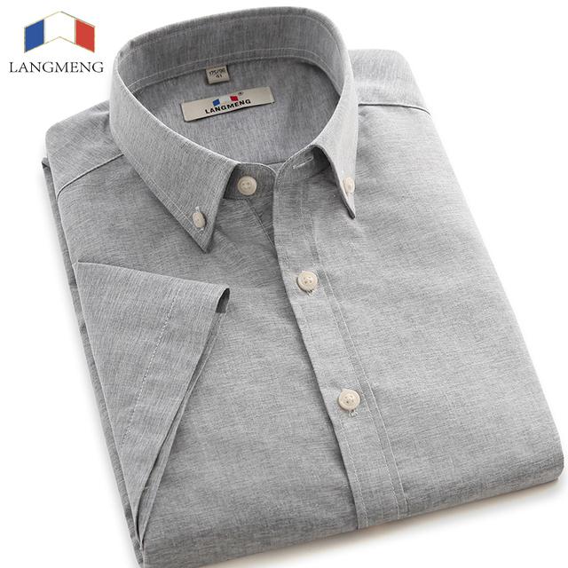 Langmeng 2016 slim fit рубашки для мужчин летом с коротким рукавом сплошной цвет ...