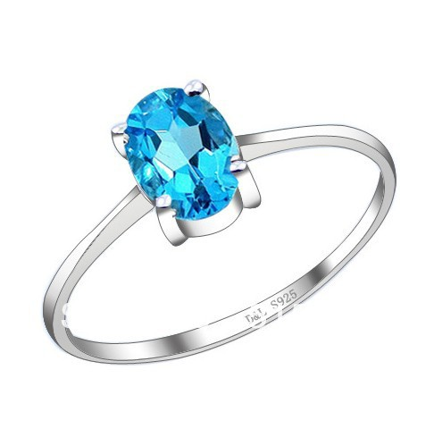 Perfect S925 silver ring inlaid natural real blue topaz engagement rings wedding gift - PEARL BOX FINE JEWELRY store