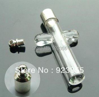 Free shipping  >>> 6mm Essential oil vial pendants,perfume vial/glass cross pendants GVP0015