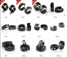 316L Stainless steel Clip Earrings Punk Men's clip-on Earrings mix order 20 pair/lot mix order free shiping(China (Mainland))