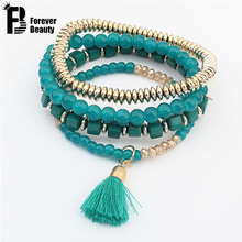 2017 Hot Bohemian Ethnic style Multilayer Beads Beaded Tassel Elastic Bracelets Bangles Jewelry for women Best Friends 5colors(China (Mainland))