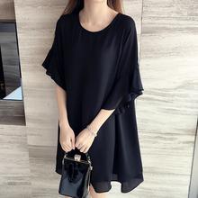 2017 New 5XL 4XL 3XL Summer Women Fashion Loose Cute Round neck Butterfly Sleeve Black Chiffon Plus size Tops Dress Hot(China (Mainland))