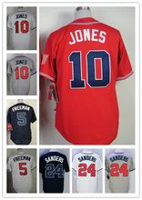 2016 New Arrival #10 Chipper Jones Jersey #5 Freddie Freeman Jersey 24 Deion Sanders 44 Hank Aaron Baseball Jerseys(China (Mainland))