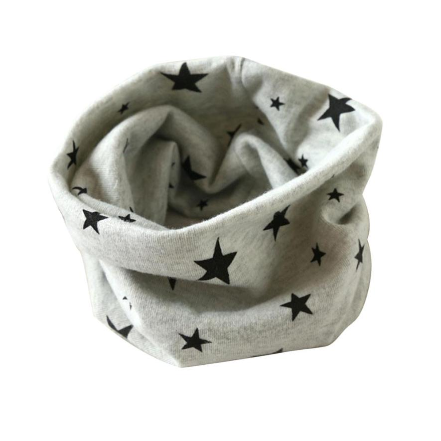 Newly Design Children Boys Girls Winter Warm Scarf Star Pattern Cotton O Neck Ring Sep15(China (Mainland))