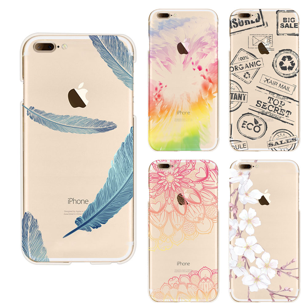 Soft Transparent tpu cases phone cover for iphone 7 case beautiful flower Feather Seagull wintersweet pattern Soft Back Cover(China (Mainland))