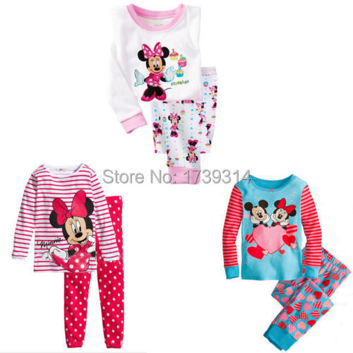 HOT!! Lovely Cartoon Mouse Tops Pants Suit Baby Girls Nightwear Pajamas Homewear(China (Mainland))