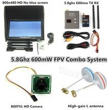 FPV Combo System 5.8Ghz 5.8g 600mw Transmitter Receiver No blue Monitor and 800tvl camera for DJI Phantom QAV250 Quadcopter 6KM(China (Mainland))