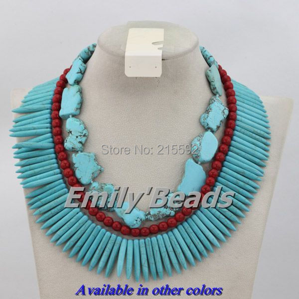 Charming African Beaded Jewlry Set Red Coal Beads Mix Turquoise Beads Wedding&amp;Anniversary Jewelry Fashion Free Shipping AJS903<br><br>Aliexpress