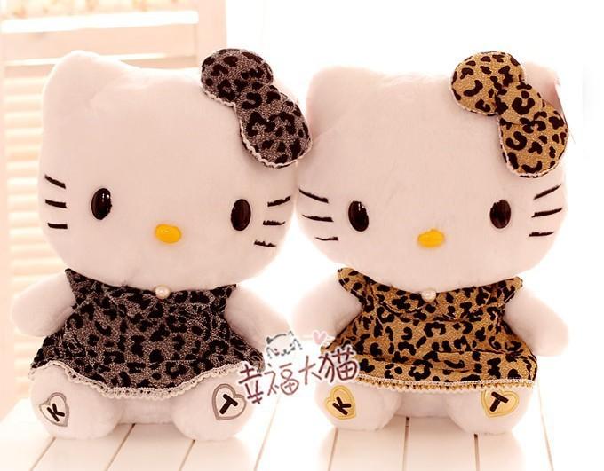 Free shipping Super cute soft stuffed hello kitty plush Toy, leopard print kitty cat, graduation & birthday gift, Kids Girl Toys(China (Mainland))