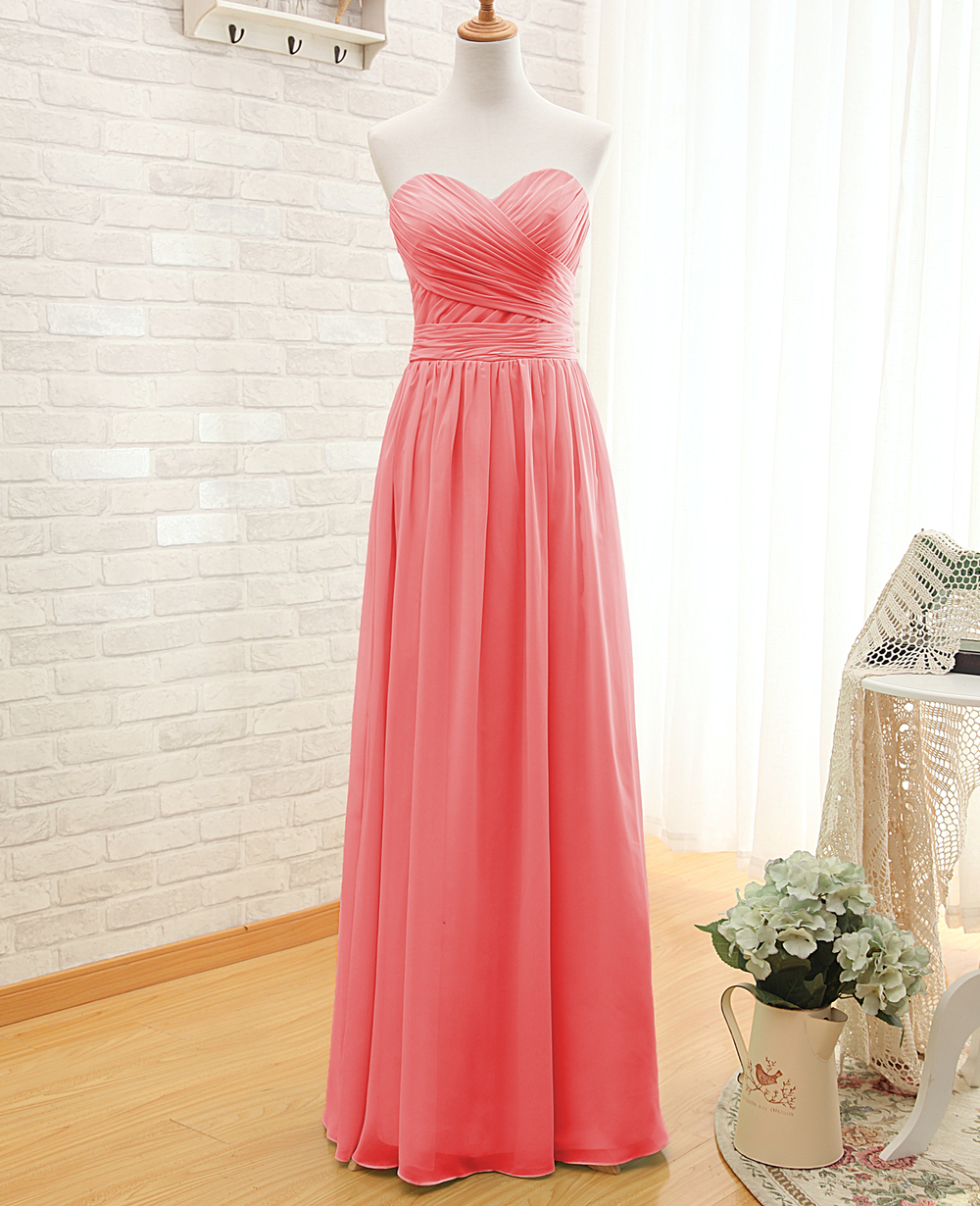 Aliexpress Buy Coral Colored Bridesmaid Dresses New Real Pictures A Line Sleeveless