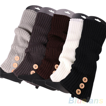 Зимы женщин кнопка вязать гетры длинные загрузки обувь крышка чулок 1U9Q 49LR