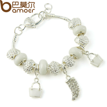 BAMOER Silver Color Crystal Charm Bracelets & Bangles With White Murano Glass Beads Handmade Jewelry PA1336(China (Mainland))