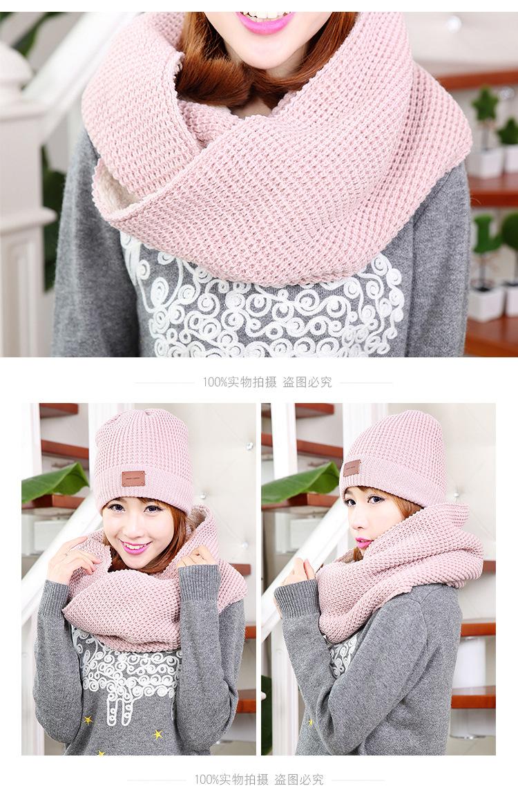 CIVICHIC Winter Fashion Warm Set Lady Knitted Hat Scarf 2 Piece Thicken Cap Fleece Velvet Headwear Neck Shawl Chic Beanies SH154