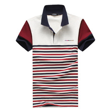 Solid Polo Shirt 2016 New Summer Short Sleeve Polo Homme Slim Fit Turn Down Collar Striped Men Polo Shirt Plus Size 5XL-M Retail