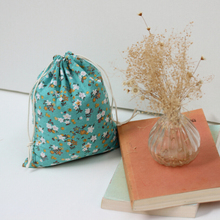 Buy Green Floral Cotton Linen Storage Bag Eco-Friendly Shopping Tea/candy/key Package Drawstring Bag Small Cloth Bag Christmas Gift for $2.31 in AliExpress store