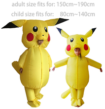 Buy Pikachu Costume Pokemon Cosplay Inflatable Halloween Costumes Kids Adults Outfit Men Women Blowup Mascots Fancy Dress Suit for $50.80 in AliExpress store