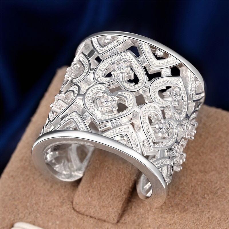 Retro style plated silver ring big hollow with CZ Diamond opening classic design elegant queen style lady jewelry hot(China (Mainland))