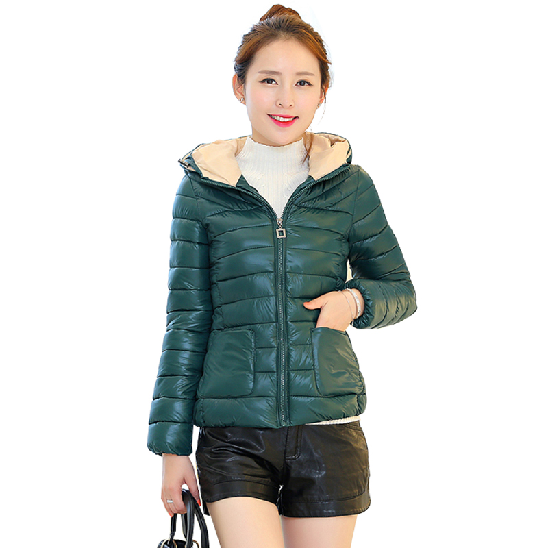 2015 New Winter Coat Women Korea Slim Fashion Casual Solid Color Hooded Short Down Jacket 2849