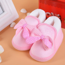 0-12 months Fashion Pink Butterfly-Knot Warm Baby Shoes  PU Soft Soles Princess Footwear For babies  Down Booties For Newborns(China (Mainland))