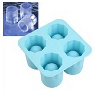 4 Cups Set Food-Grade Silicone Cool Shooter Ice Cube Shot Glass Shaped Tray Mold Maker(China (Mainland))